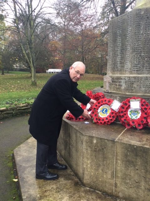 Lion President laying our wreath at Hexham War Memorial.We will remember them.